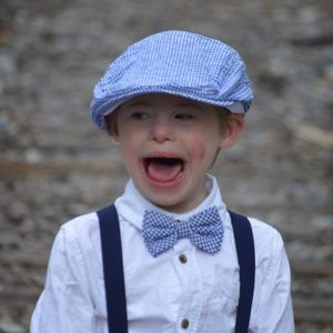 Boys Twins Hat & Bow Tie for Boy Blue Check